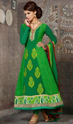 Aloe Vera Green Shade Georgette Long Anarkali Suit Price: Usa Dollar $99, British UK Pound £58, Euro72, Canada CA$105 , Indian Rs5346.