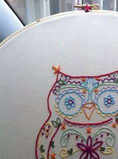 Calavera owl embroidery pattern by DesiBlue on Etsy