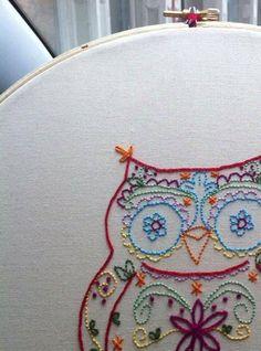 Calavera owl embroidery pattern