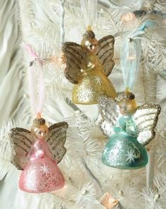 pastel mercury glass angels. Reminds me of my childhood
