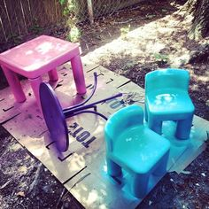 Picked all these up at different garage sale sites, etc. Spray painted them the colors of the party for seating for the kids :) Not pictured is a blue little tykes picnic style bench. https://sphotos-a-dfw.xx.fbcdn.net/hphotos-prn2/q71/s720x720/1148815_513374842065704_179845278_n.jpg