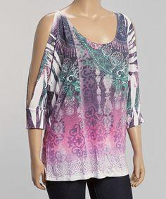 Love this Purple & Green Arabesque Cutout Tee - Plus on #zulily! #zulilyfinds