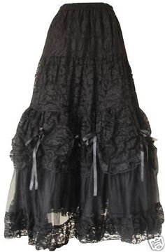 Gothic Long Skirt - 2 layers of netting and 1 lining with lace overskirt- can be sent 2-3 days