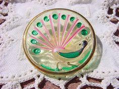 Vaseline Glass Vibrant Peacock Czech Glass Button