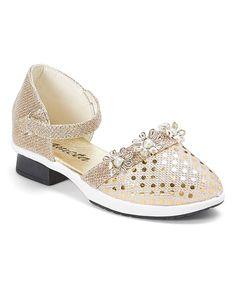 Gold Sequin & Flower Dress Shoe
