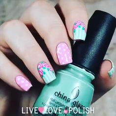 gorgeous pink and mint floral nails easy Cute Nail Art, Cute Nails, Pretty Nails, Fabulous Nails, Perfect Nails, Nails For Kids, Flower Nails, Creative Nails, Manicure And Pedicure
