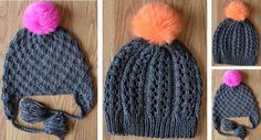 Both of these lovely and textured GoGo knitted hats have a fun and colorful pompom. Download the FREE pattern for both knitted hats NOW!