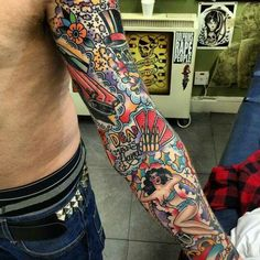 Old school tattoo arm sleeve!