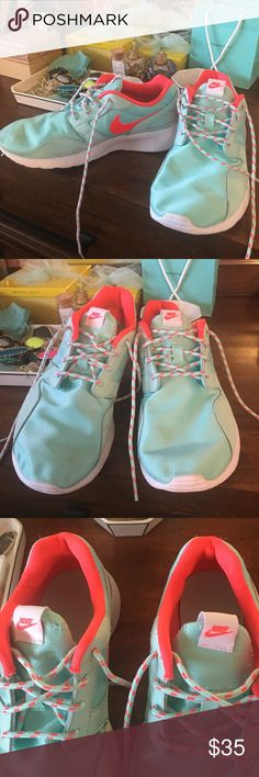 online store fa29d 0d499 Nike Coral   Tiffany Blue Running Shoes 5Y or 6.5 Nike running shoes in  excellent used