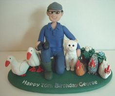 "FImo Topper 70th Birthday Topper, ""Farmer"" with his fat Cat, Chicken and Geese."