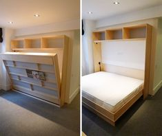[QUESTION] How do you build a DIY murphy bed? What is the process to build a murphy bed? [ANSWER] The Murphy bed is a cross between a cabinet and a bed. It is commonly referred to as a pull-down bed, wall bed or fold-down bed. Build A Murphy Bed, Murphy Bed Plans, Build A Bed, Murphy Bunk Beds, Queen Murphy Bed, Cama Murphy Ikea, Kids Bed Furniture, Murphy-bett Ikea, Hideaway Bed