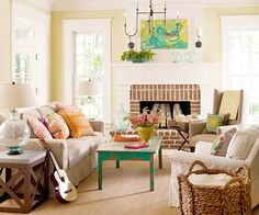With four kids and two dogs, this family cottage sees a lot of hustle and bustle -- and its color palette is just as lively. An abstract painting above the mantel was the inspiration for the interior color scheme. Punctuated with colors that resonate with the outdoors, the painting's tropical blues and greens turn up throughout the home -- on a vintage coffee table, glass bottles, fishing floats, and even a bedroom ceiling.