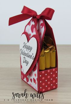Quick & easy Valentine's treat that holds 3 Ghirardelli Chocolate Squares - you can cut 4 bases from just 1 piece of cardstock making it super economical to treat all your friends & family! FREE PROJECT SHEET at SarahsInkSpot! Sarah Wills Sarah's Ink Spot Valentines Day Cards Handmade, Valentine Treats, Valentine Day Crafts, Valentine Decorations, Be My Valentine, Treat Holder, Treat Box, Ghirardelli Chocolate Squares, Valentine Chocolate