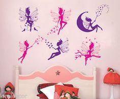 Pegatina infantil decorativa mini Hadas.  Un precioso diseño para decorar los cuartos infantiles femeninos.