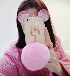 Bling Ears and Pom Pom Fur Ball Case For iPhone