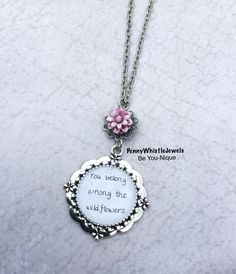You Belong Among The Wildflowers Quote Necklace 💜  #etsy #handmade #quotenecklace #inspirationalgifts