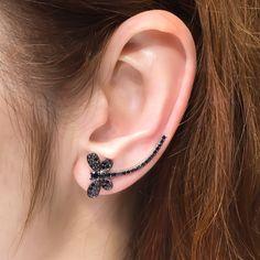 Silver dragonfly ear crawler earrings, black  zirconia ear cuff, ear sweep, ear climber earrings, ear cuffs and ear wraps, delicate earcuffs by TrendSilver on Etsy