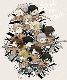 Shingeki no Kyojin - Chibi Squad Unite: Mikasa, Eren, Sasha, Armin, Annie, Conny, Christa, Ymir, Reiner, Marco, Jean and Bertholt