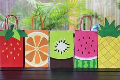 Decorate your favor bags. Use this template to coordinate with your birthday party, baby shower or any other event. Fruit Birthday, 2nd Birthday Party Themes, Watermelon Birthday, Tutti Frutti, Tutti Fruity Party, Fruit Party, Tropical Party, Party Favor Bags, Goodie Bags