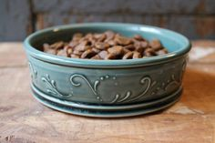 Pet Bowl, Large, Deep Green, Elegant Dog Dish, Personalized, Ceramic, Handmade, MADE TO ORDER