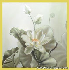 Bông hoa sen trắng như được vẽ chì tinh tế hiện đại
