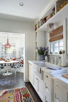 Love the shelves and built-in seating.