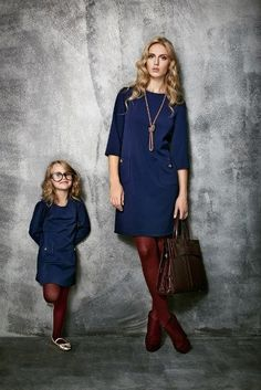 """""""Mommy and I wear red tights with our dark blue dresses. Mom And Baby Outfits, Twin Outfits, Family Outfits, Kids Outfits, Mother Daughter Dresses Matching, Mother Daughter Fashion, Mom Daughter, Little Girl Fashion, Little Girl Dresses"""
