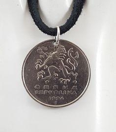 Czechoslovakian Coin Necklace 5 Korun Coin by AutumnWindsJewelry Coin Jewelry, Coin Necklace, Pendant Necklace, Leather Cord, Black Leather, Coin Pendant, Ball Chain, Coins, My Etsy Shop