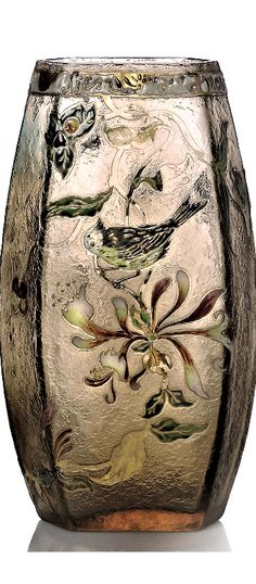 EMILE GALLÉ (1846-1904) ENAMELLED PARLANTE VASE, CIRCA 1900 glass, acid-etched and decorated in enamels and gilt with bird and foliage, with enamel frieze Lien d'amour 10 in. (25.5 cm.) high signed in cameo gallé Art Nouveau, Enamels, Vase, Birds, Pretty, Decor, Dekoration, Vitreous Enamel, Decoration