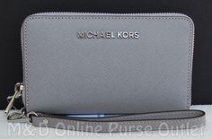 Michael Kors Jet Set Travel Lg Flat Multi Funct Phone Case Wristlet Wallet ~Grey #MichaelKors #ClutchWallet