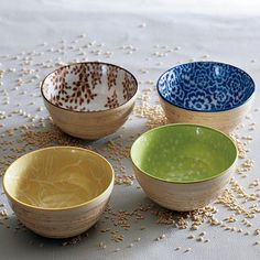 little porcelain bowls perfect for ice cream or dipping you favorite veggie.  Love the colorful print inside the bowl.