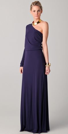 Halston Heritage  One Shoulder Maxi Dress. Love everything about this outfit, including the jewellery.