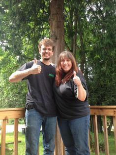 Our crew member Josh, and their happy client! She was super happy with Josh and Jahmils work, and said she'd hire them again in a heartbeat. Thanks for the kind words, and we appreciate her hiring us!