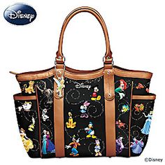 I've never really been into the whole Disney stuff. Printed fabric tote with brown faux leather trim features dozens of Disney characters and a Tinker Bell charm. Multiple pockets and zip closure. Disney Tote Bags, Disney Handbags, Bradford Exchange Disney, Disney Collection, Disney Princess Characters, Mode Kawaii, Disney Logo, Quilted Tote Bags, Disney Style