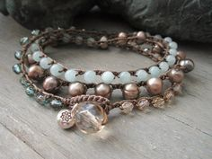 Beachy crochet wrap bracelet necklace - Malibu Dreamin' - freshwater pearl semi precious stone earthy beach boho 3x wrap by slashKnots on Etsy, $50.00