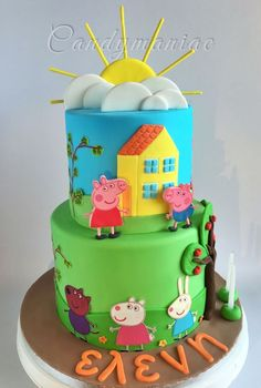 Peppa the pig with her friends cake for a little girl's birthday. Two tiers of mud chocolate cake and Swiss meringue buttercream. Tortas Peppa Pig, Bolo Da Peppa Pig, Peppa Pig Birthday Cake, Birthday Cake Girls, Peppa Pig Cakes, 3rd Birthday, George Pig Cake, Bolo Fack, Aniversario Peppa Pig