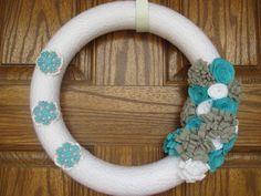 """14"""" Winter Yarn Wreath, Holiday Yarn Wreath, Christmas decor.  via Etsy."""