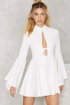 Nasty Gal Fool For You Bell Sleeve Dress - White - Going Out