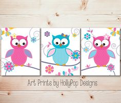 Bright Colorful Nursery Art-Whimsical woodland Owls-Pink Purple Aqua Nursery Wall Decor-Toddler Girls Room Decor Art-Set of 3 Prints-Floral on Etsy, $35.00