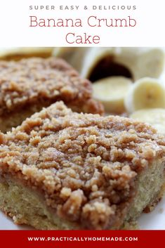 Breakfast doesnt have to be boring with this Banana Crumb Cake. Loaded with mashed bananas and piled high with crumb topping it the best way to start your day. But who am I kidding serving it for dessert is just as wonderful. Banana Dessert Recipes, Köstliche Desserts, Delicious Desserts, Cake Recipes, Yummy Food, Desserts With Bananas, Recipes With Bananas, Banana Breakfast Recipes, Healthy Dessert Recipes