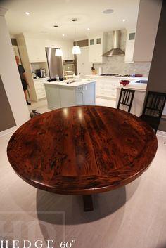"60"" Round Reclaimed Wood Pedestal Table - Ontario Barn Wood Construction - Premium epoxy/matte polyurethane finish   Posted by Gerald Reinink, Design & Sales  Copyright HD Threshing Floor Furniture / www.hdthreshing.com"