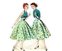 1950s Full Skirt Halter Dress and Jacket by PrettyPatternShop, $43.95