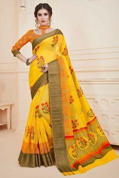 Yellow chiffon printed saree with orange art silk blouse. Saree with Round Neck, Elbow Sleeve. Traditional Sarees, Traditional Looks, Sari, Saree Blouse, Chiffon Saree, Silk Sarees, Wear Store, Printed Sarees, Blouse Online
