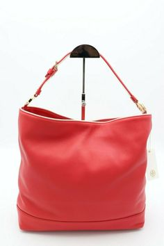4a6f7b31b1a Details about Tory Burch Red Duet Leather Hobo Shoulder Bag !!! Retail  450