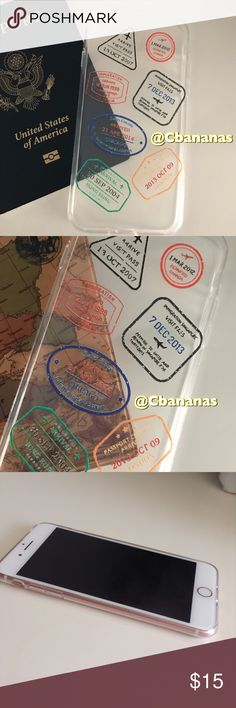 Travelers Passport Stamped IPhone 7 Case Brand new. Great for the traveler in your life✈️ Silicone soft case brand new never used. iPhone 7 plus. Passport Stamps displayed from London, England  Chicago, Illinois Sydney, Australia Hong Kong, Singapore, Asia Accessories Phone Cases