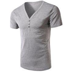 V-Neck Short Sleeves Solid Color T-Shirt For Men