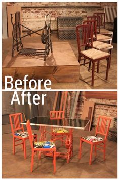 Sewing Table Base + Chairs= Vibrant Orange Dining Set