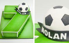 Pastel numero 7 con pelota de fútbol Number Cake Soccer Birthday Cakes, Soccer Cake, Soccer Theme, Football Themes, Football Birthday, Soccer Party, Sports Party, Boy Birthday, Football Cakes