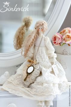 Купить Патрисия - белый, тильда, Кукла для интерьера, подарок, ручная работа, молочный цвет