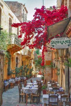 ~Sidewalk Cafe, Isle of Crete, Greece~ by Siamese Dream Design
